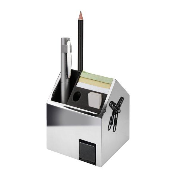 Schreibtisch Organizer Metall Stifteköcher mit Anspitzer inkl. Büroklammern und Notizblock