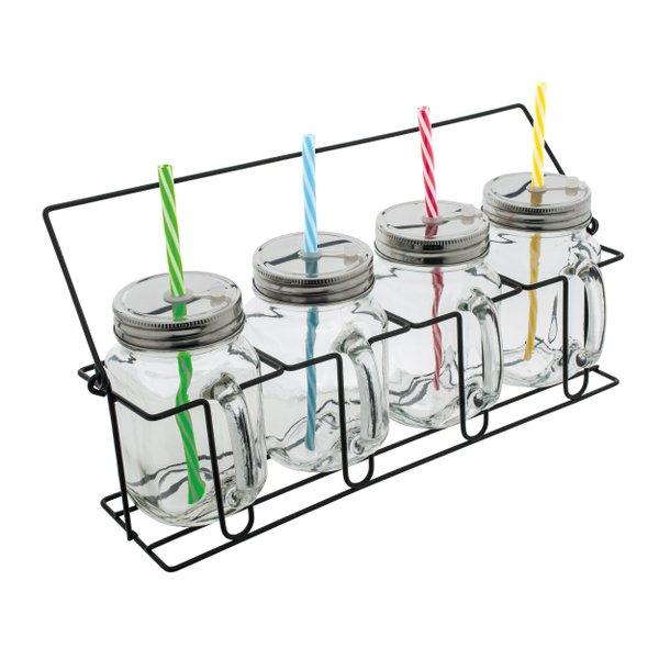 Set aus 4 Gläsern mit Strohhalmen