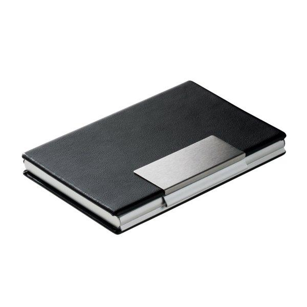 Visitenkartenetui Visitenkartenbox elegant schwarz silber Aluminium PU