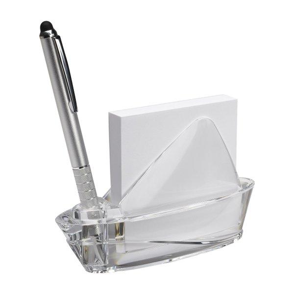 Notizblockhalter + Notizzetteln Segelschiff Acryl transparent Briefbeschwerer
