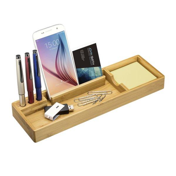 Schreibtisch Organizer Bambus mit 100 Haftnotizen und Stifthalterung