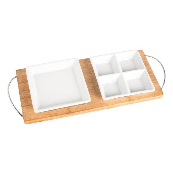 Bambustablett mit 2 Anrichteschalen für Snacks