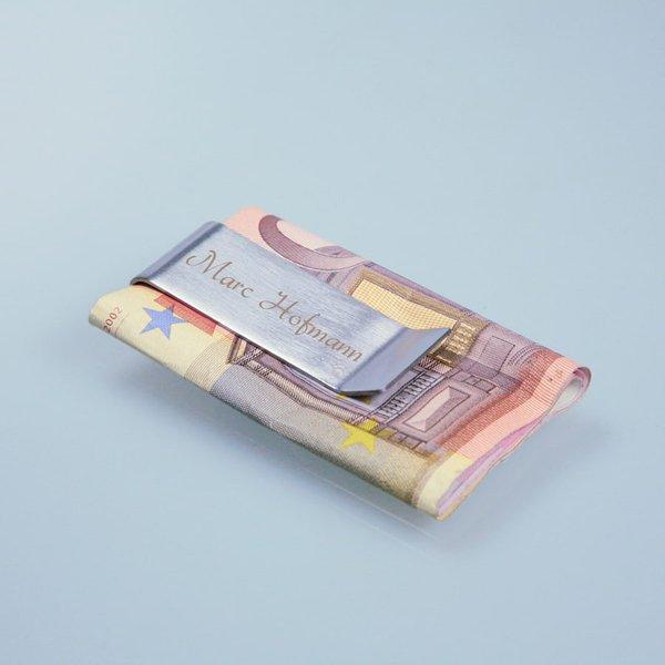 Geldscheinklammer mit Gravur für Geldgeschenke