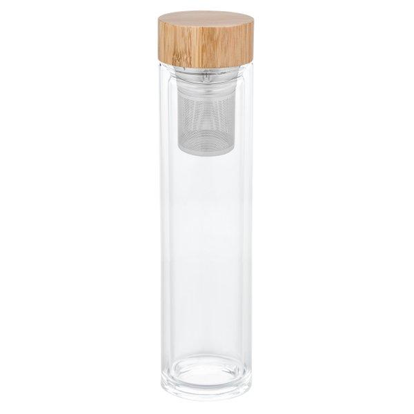 Teeflasche to go Teebereiter Teesieb Glas Bambus Edelstahl 500 ml