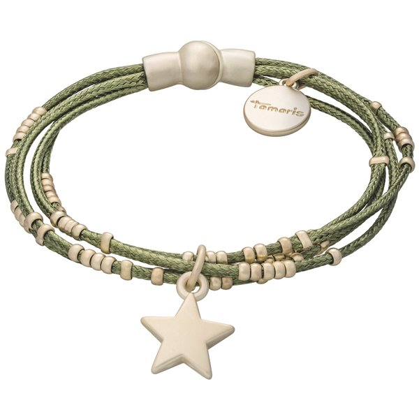 Tamaris Fiby Armband gold/oliv aus Stoff mit Metallbesätzen und Sternanhänger, Magnetverschluss