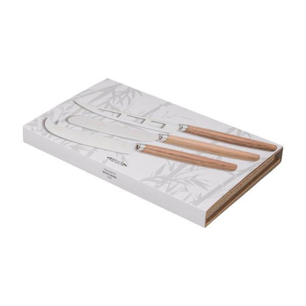 Käsemesserset 3-teilig aus Bambus mit Geschenkbox