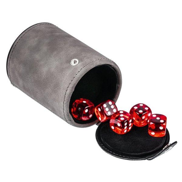 Würfelbecher für unterwegs mit 5 Würfeln rot in verschließbarem Fach am Boden