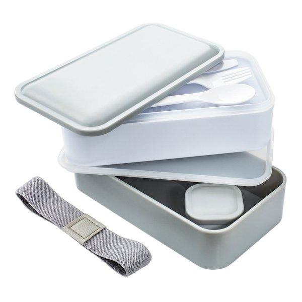 Lunchbox Bentobox Vesperdose 2 Behälter mit Besteck und Dressingbehälter
