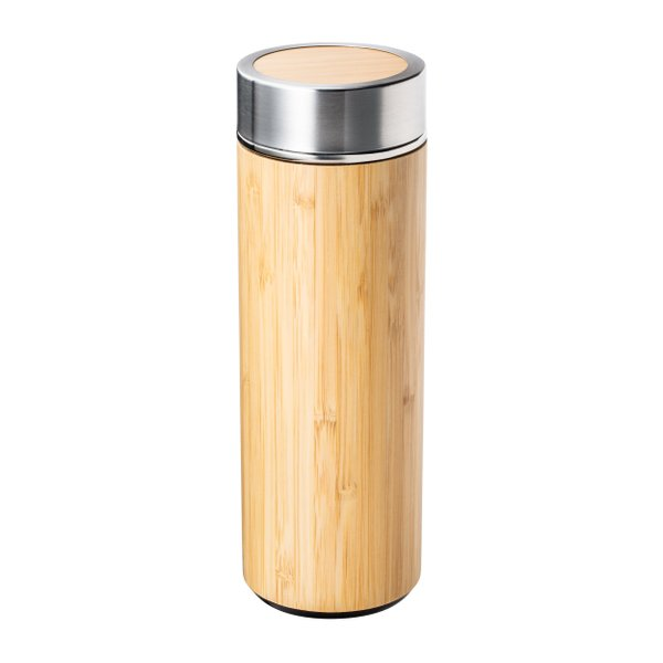 Teeflasche to go Bambus Edelstahl Teebereiter Teesieb 360ml